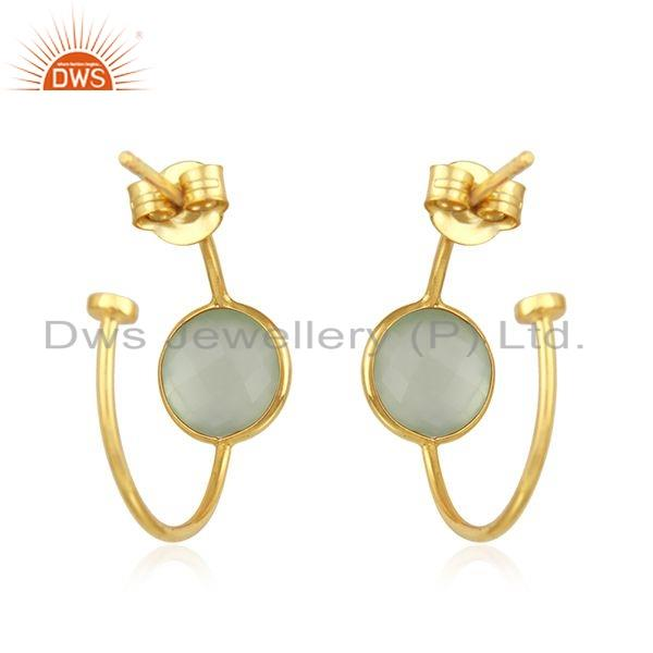 Suppliers Chalcedony Gemstone 18k Gold Plated Girls Silver Hoop Earrings Jewelry