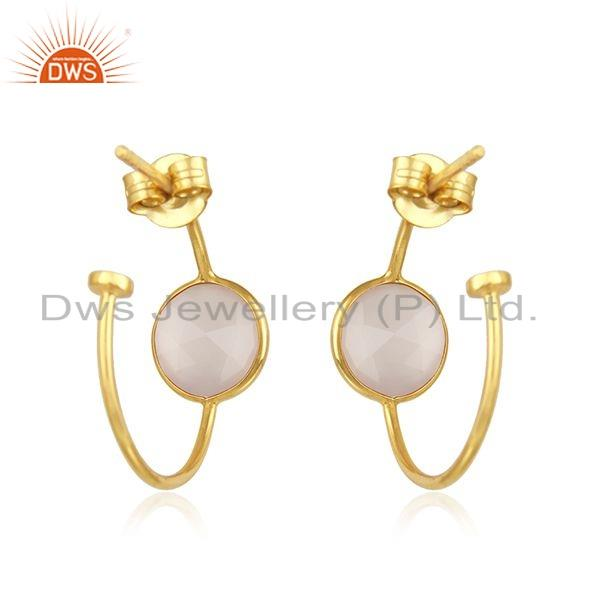 Suppliers Rose Chalcedony Gemstone Gold Plated Silver Hoop Earrings Jewelry