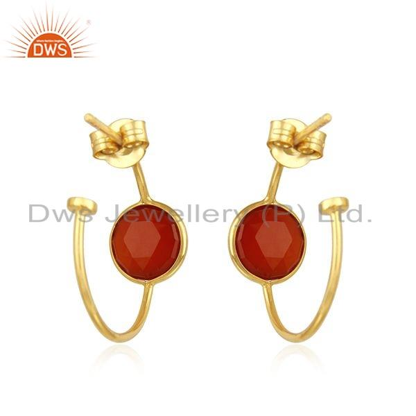 Suppliers Natural Red Onyx Gemstone Gold Plated Silver Hoop Earrings Jewelry