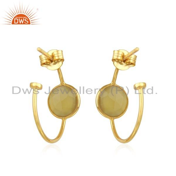 Suppliers Gold Plated Designer Silver Chalcedony Gemstone Hoop Earrings Jewelry