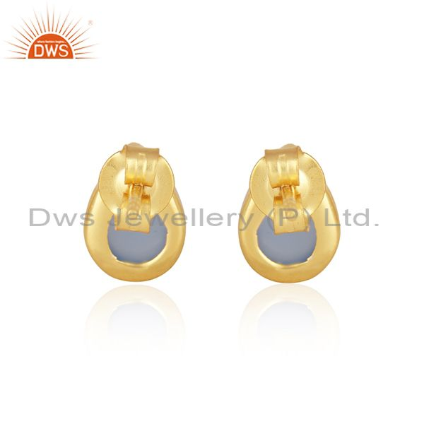 Suppliers Blue Chalcedony Gemstone Gold Plated Sterling Silver Stud Earrings