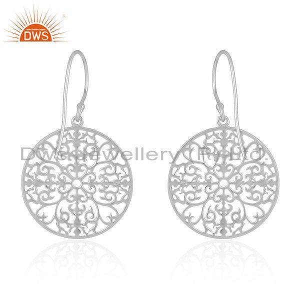 Suppliers White Rhodium Plated Plain Sterling Silver Designer Earrings Jewelry
