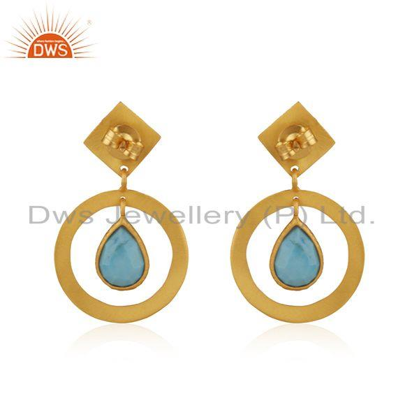 Suppliers Handcrafted 925 Silver Yellow Gold Plated Turquoise Gemstone Earrings