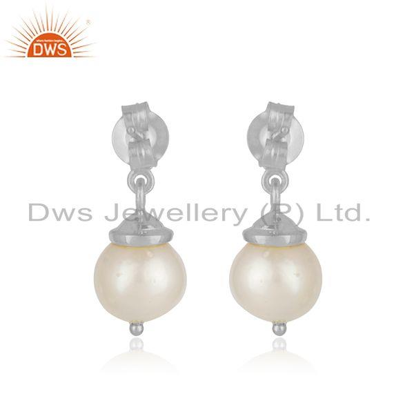 Suppliers Leaf Design Sterling Fine 925 Silver Natural Pearl Earrings for Womens