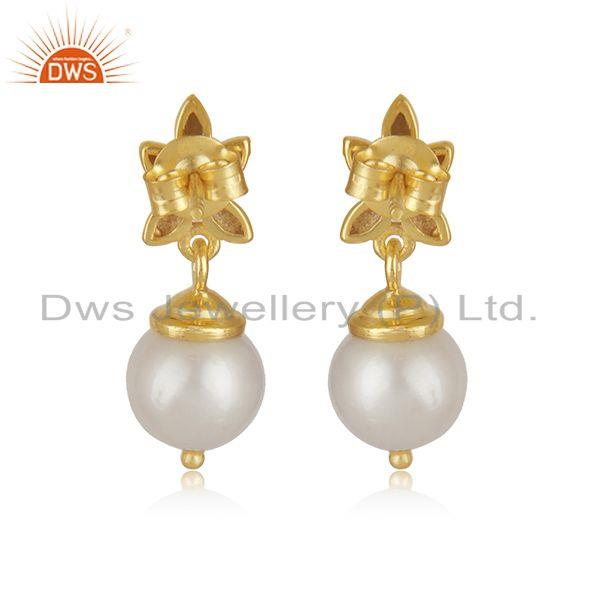 Suppliers Elegant White Pearl Gold Plated 925 Sterling Silver Designer Earrings