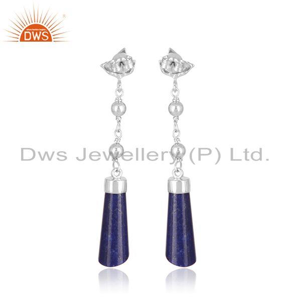 Manufacturer of Designer Fine Sterling Silver Natural Lapis Lazuli Gemstone Earrings in India