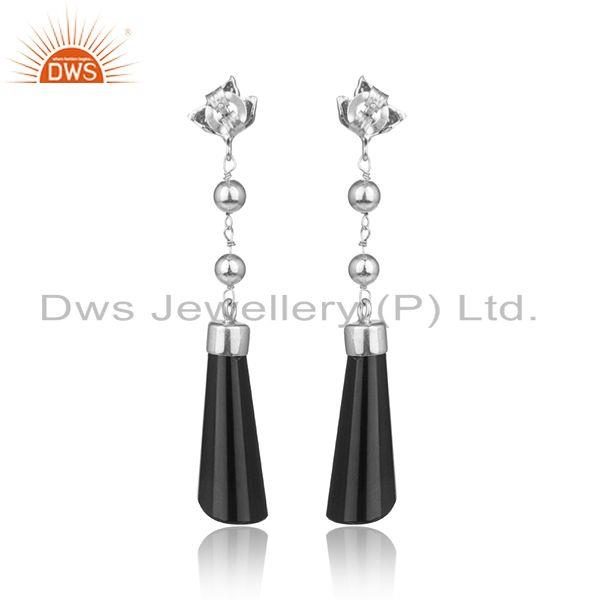 Designer of Designer silver longing earring with black onyx and white rhodium