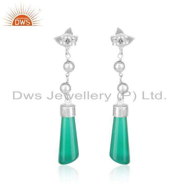 Designer of Designer long dangle in rhodium on silver and fancy green onyx