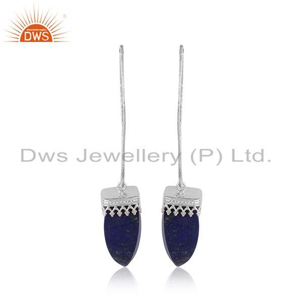 Designer of Longing lapis lazuli gemstone crown design 925 silver earrings