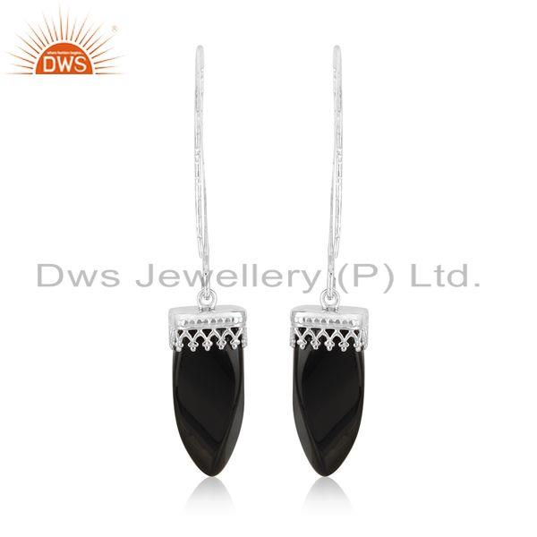 Designer of Designer long dangle earring in rhodium on silver and black onyx