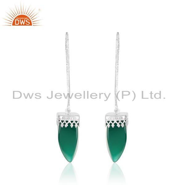 Designer of Designer long dangle earring in rhodium on silver and green onyx