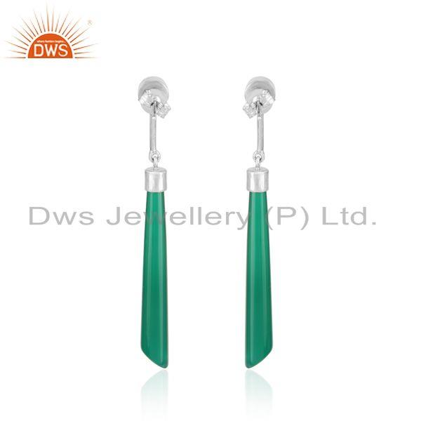 Designer of Designer long earring in rhodium on silver 925 and green onyx