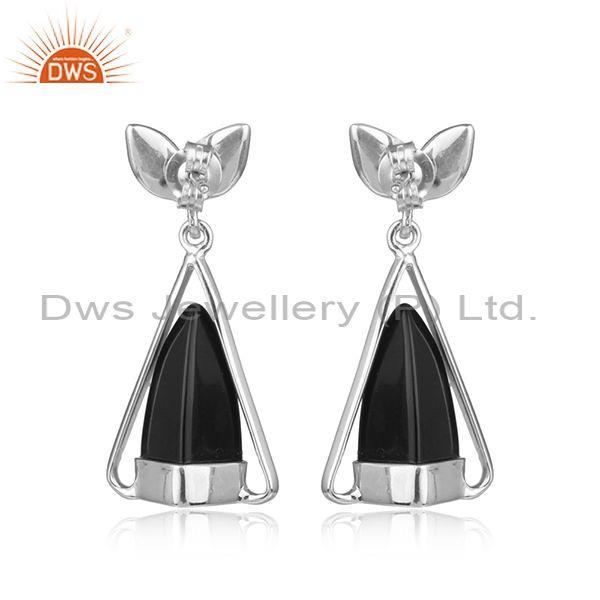 Designer of Designer silver earring with black onyx, cz and white rhodium