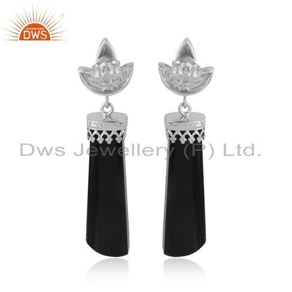 Designer of White rhodium plated crown design black onyx gemstone earrings