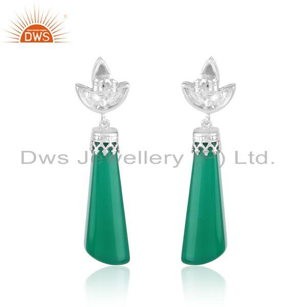 Designer of Designer leaf dangle in rhodium on silver and fancy green onyx
