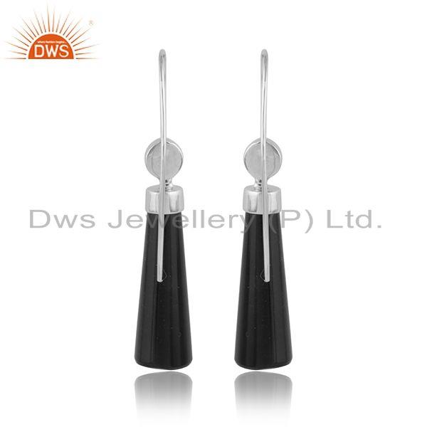 Designer of White rhodium over designer longing black onyx gemstone earrings