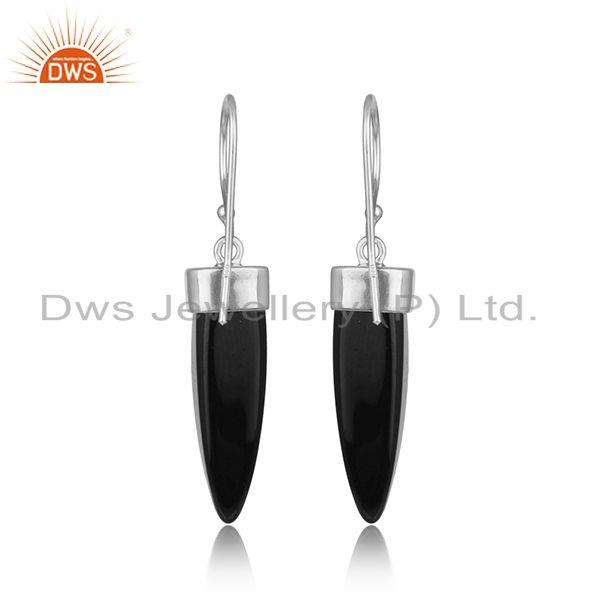 Designer of Dangle silver 925 earring with black onyx horn and white rhodium