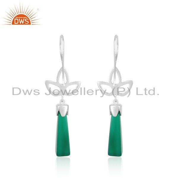 Designer of Designer leaf dangle in rhodium on silver and long green onyx