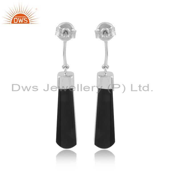 Designer of Black onyx gemstone designer white rhodium plated silver earrings