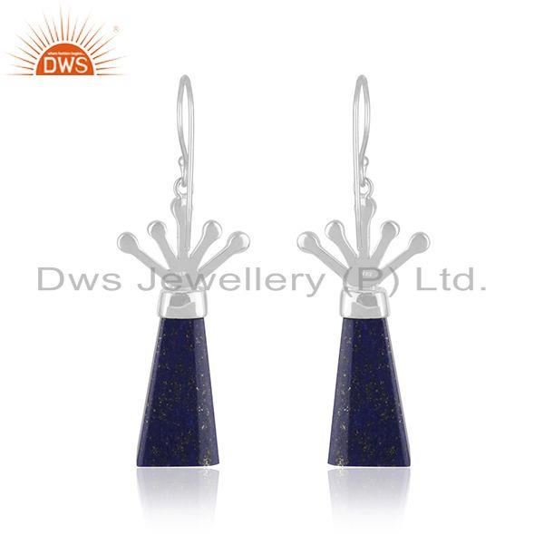 Suppliers Stylish Sterling Fine Silver Natural Lapis Lazuli Gemstone Earrings