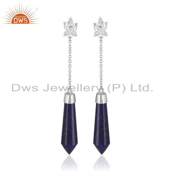 Supplier of Genuine Lapis Lazuli Gemstone Handmade Fine Sterling Silver Earrings in Jaipur