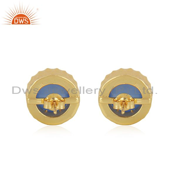 Suppliers Gold Plated 925 Silver Blue Chalcedony Gemstone Stud Earrings Jewelry