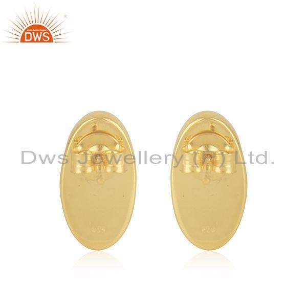 Suppliers Blue Chalcedony Gemstone Gold Plated Silver Oval Shape Stud Earrings