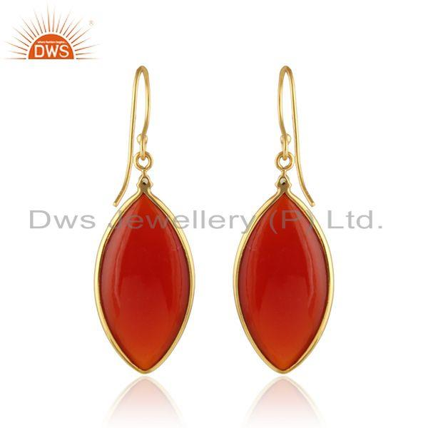 Suppliers Marquoise Shape Red Onyx Gemstone Gold Plated Silver Earrings