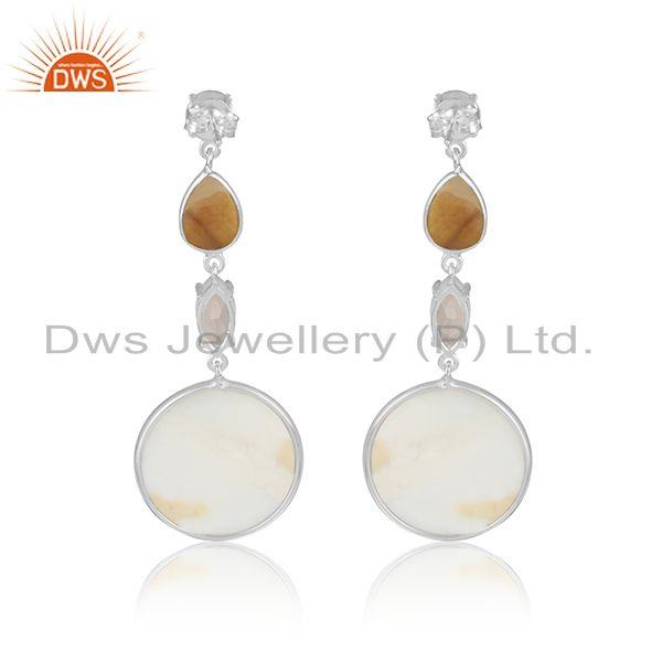 Designer of Chalcedony mother of pearl womens fine sterling silver earrings