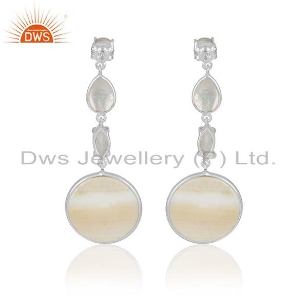 Designer of Moonstone mother of pearl sterling silver dangle earrings jewelry