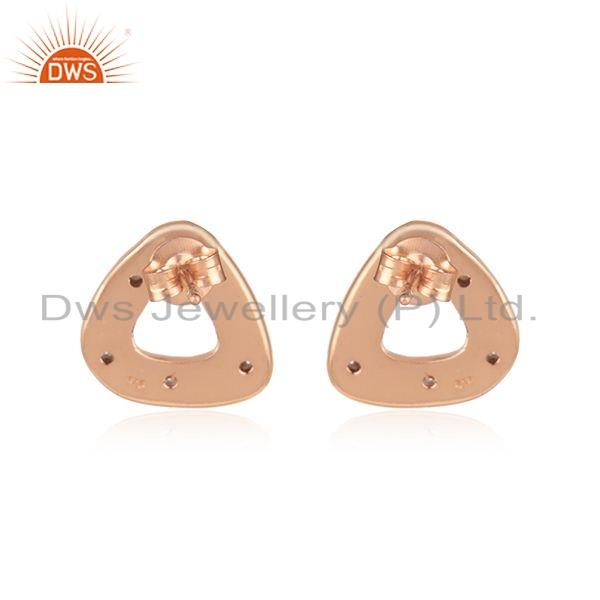Suppliers New Look Rose Gold Plated Silver CZ Gemstone Stud Earrings Jewelry