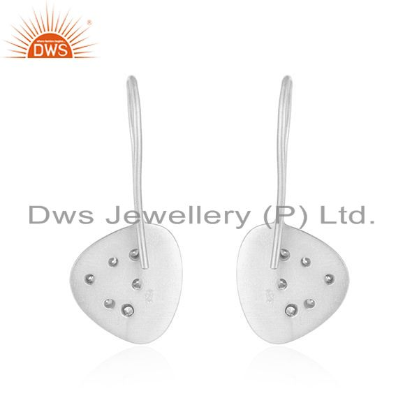 Suppliers Handmade 925 Sterling Fine Silver White Zircon Earrings Manufacturer