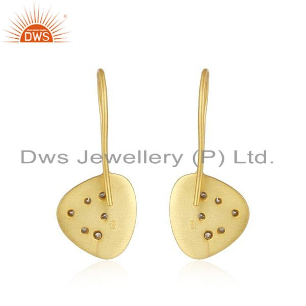 Suppliers White Zircon Handmade Yellow Gold Plated 925 Sterling Silver Earrings