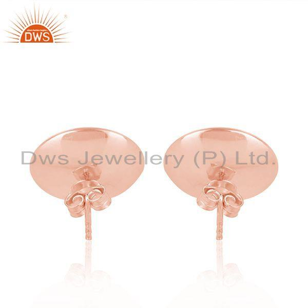 Suppliers Round Shape Rose Gold Plated Gray Pearl Gemstone Stud Earrings Jewelry