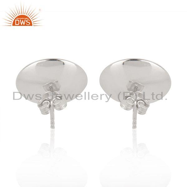 Suppliers White Rhodium Plated 925 Silver Gray Pearl Gemstone Stud Earrings