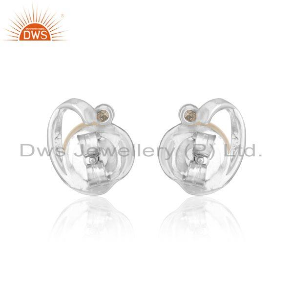 Designer of Heart shape white rhodium plated silver cz pink pearl earrings