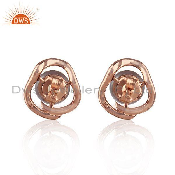 Suppliers Designer Rose Gold Plated Silver CZ Gray Pearl Gemstone Stud Earrings