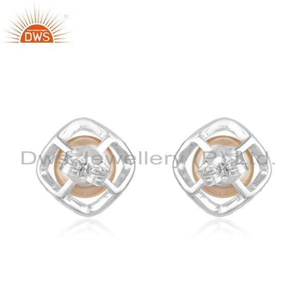 Suppliers White Zircon and Pink Pearl Gemstone Fine Sterling Silver Stud Earring