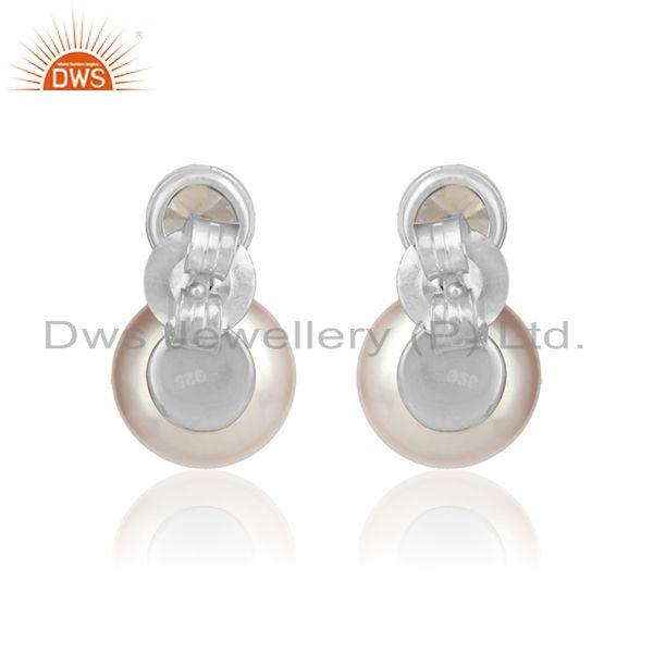 Designer of Pink pearl cz gemstone white rhodium plated silver girls earrings