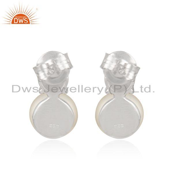 Suppliers Zircon Natural Pearl White Rhodium Plated 925 Silver Earrings Jewelry