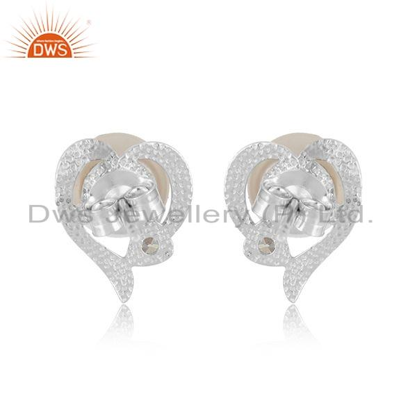 Suppliers White rhodium Plated Silver CZ Pearl Heart Design Stud Earring Jewelry