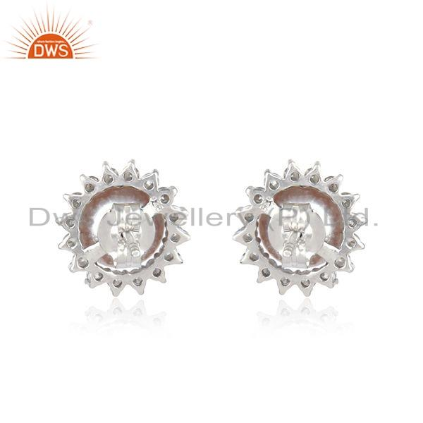 Suppliers White Rhodium Plated 925 Silver CZ Pearl Gemstone Stud Earring Jewelry