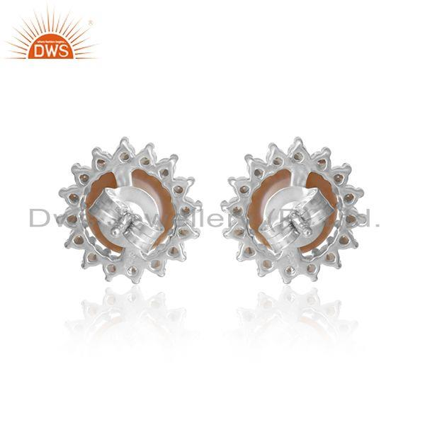 Designer of Sun design white rhodium plated silver pink pearl cz stud earring