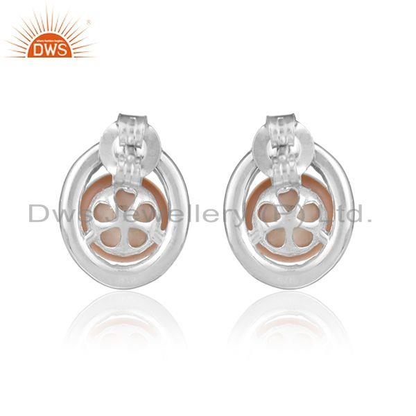 Designer of Ovel design cz pink pearl white rhodium plated silver earrings