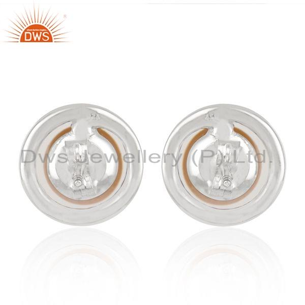 Suppliers White Rhodium Plated 925 Silver Pearl CZ Gemstone Stud Earring Jewelry