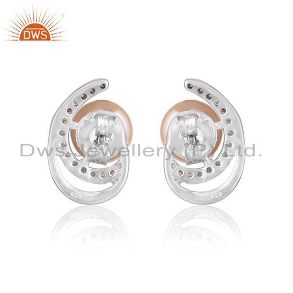 Designer of Designer white rhodium plated 925 silver cz pink pearl earrings