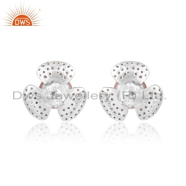 Designer of Flower white rhodium plated silver cz pink pearl gemstone earring