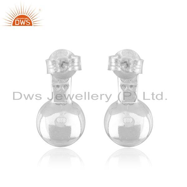 Suppliers CZ Gray Pearl Gemstone White Rhodium Plated Silver Earrings Jewelry
