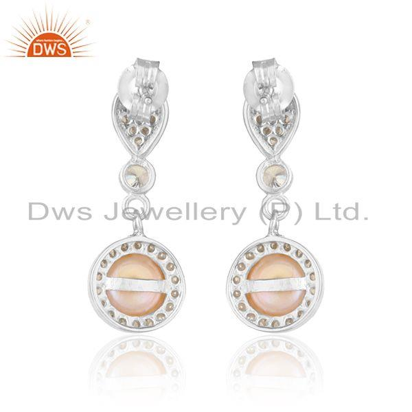 Designer of Drop design white rhodium plated silver cz pink pearl earrings