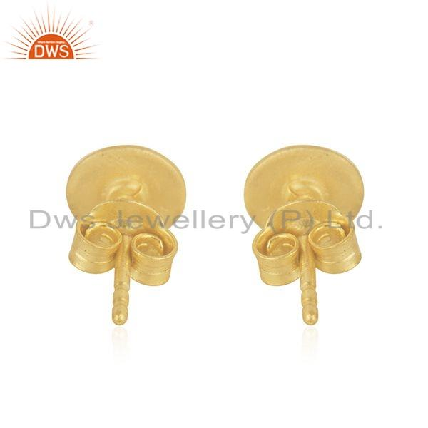 Suppliers 18k Yellow Gold Plated 925 Sterling Plain Silver Tiny Stud Earrings Jewelry